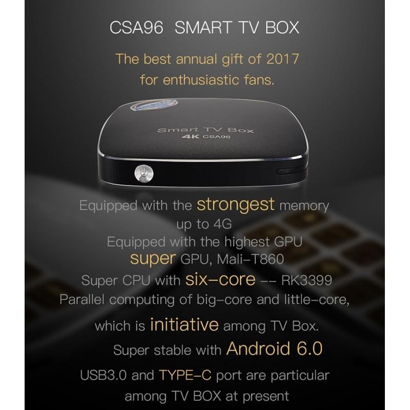 CSA96 RK3399 4G+32G Android TV Box - ΜΑΥΡΟ - B2B Conceptum
