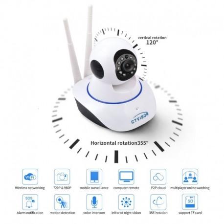 CTVISON - IP Camera CT-P724 - Camera Wireless 720P H.264 Wifi IP - Ασύρματη - Κάμερα παρακολούθησης με νυχτερινή όραση