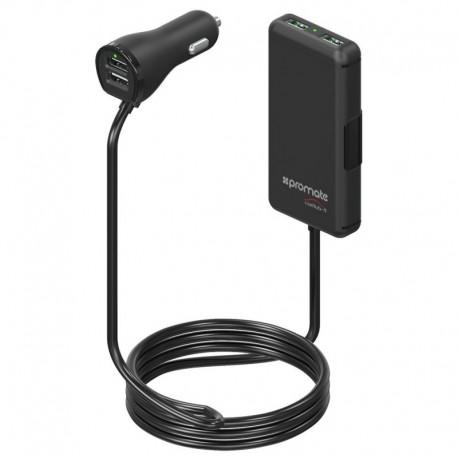 Promate CarHub-4 USB Hub για Φόρτιση Κινητών Συσκευών στο Αυτοκίνητο 36W/7.2A – Επέκταση 1.80m - Μαύρο