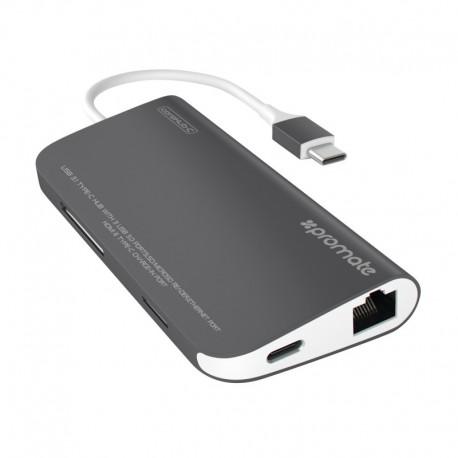 Promate coreHub-C USB 3.1 Type-C με Δυνατότητα Φόρτισης, 4K HDMI, Ethernet, SD MicroSD και Θύρες USB 3.0 8-σε-1 - Γκρι