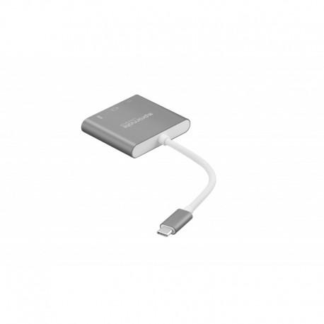 Promate UniHub-C2 USB-C Hub με Δυνατότητα Φόρτισης 3-σε-1, 1x USB-C, 1x 4K HDMI, 1x USB 3.0 - Γκρι