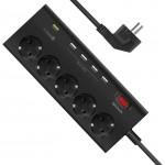 Promate SwitchQC3-EU Πολύπριζο 5 Θέσεων Με Qualcomm Quick Charge 3.0 - Μαύρο