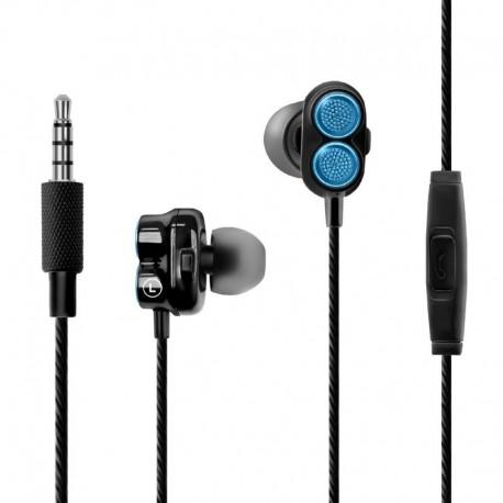 Promate Onyx Ακουστικά Με Διπλό Δυναμικό Οδηγό Ηχείων - Μπλέ