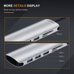 CABLETIME 5 in 1 Premium USB C to HDMI Mulitport Adapter-HDMI+USB3.0 Hub+USB C+ Card Reader (CT-C160-PU31-CMHD51-S0.15)